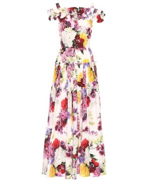 Floral-printed cotton maxi dress