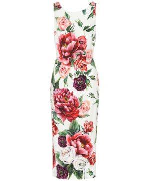 Floral-printed crêpe dress