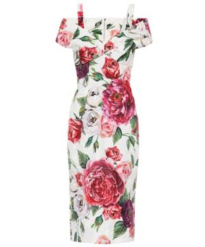 Floral-printed jacquard dress
