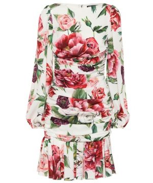 Floral-printed stretch-silk dress