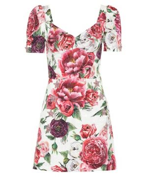 Floral silk-blend dress