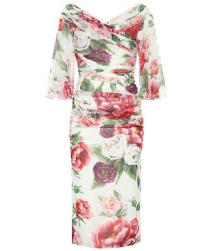 Floral stretch silk midi dress