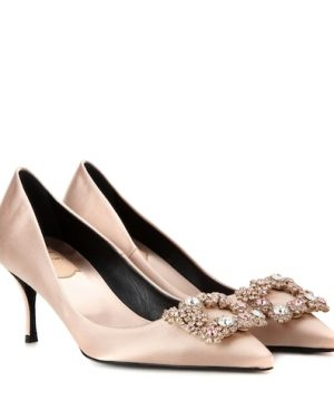 Flower embellished satin pumps