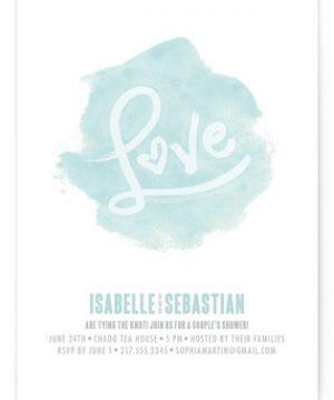 Love in Watercolour Bridal Shower Invitations