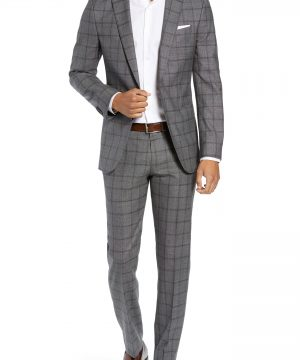 Men's Boss Novan/ben Trim Fit Windowpane Wool Suit