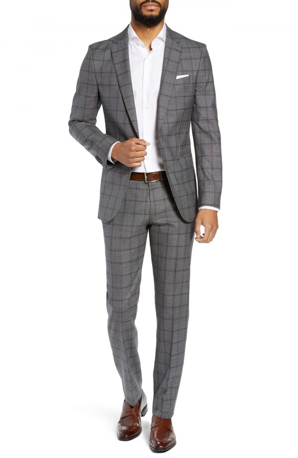 Men's Boss Novan/ben Trim Fit Windowpane Wool Suit