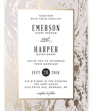 Modern Marble Foil-Pressed Wedding Invitations