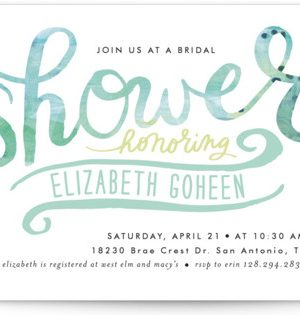 Painted Script Swash Bridal Shower Invitations