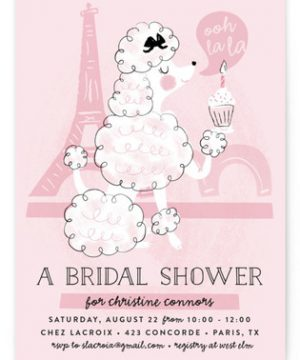 Parisian Poodle Bridal Shower Invitations