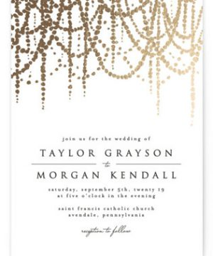 Pearl Garland Foil-Pressed Wedding Invitations