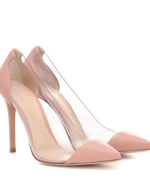 Plexi leather and transparent pumps