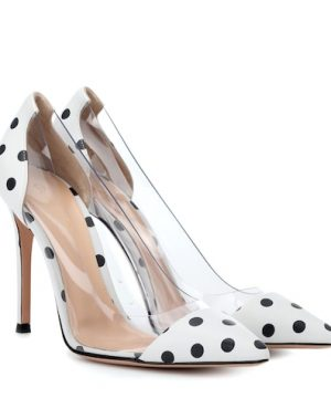 Plexi polka-dot leather pumps