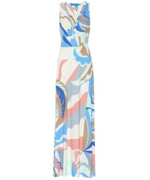 Printed silk-blend maxi dress