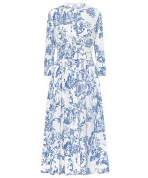 Printed stretch cotton midi dress