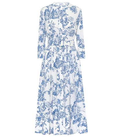 Printed stretch cotton midi dress