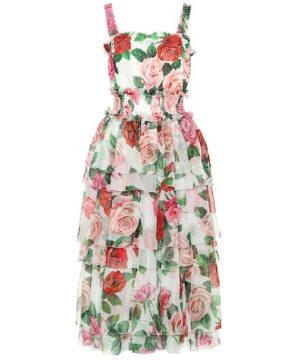Rose-printed silk midi dress