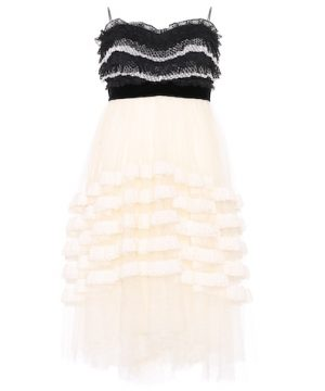 Strapless lace and mesh dress