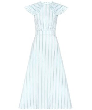 Striped cotton and silk dress