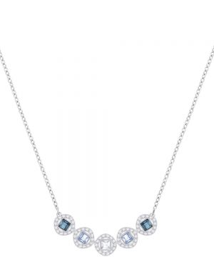 Swarovski Angelic Square Necklace, Blue, Rhodium plating