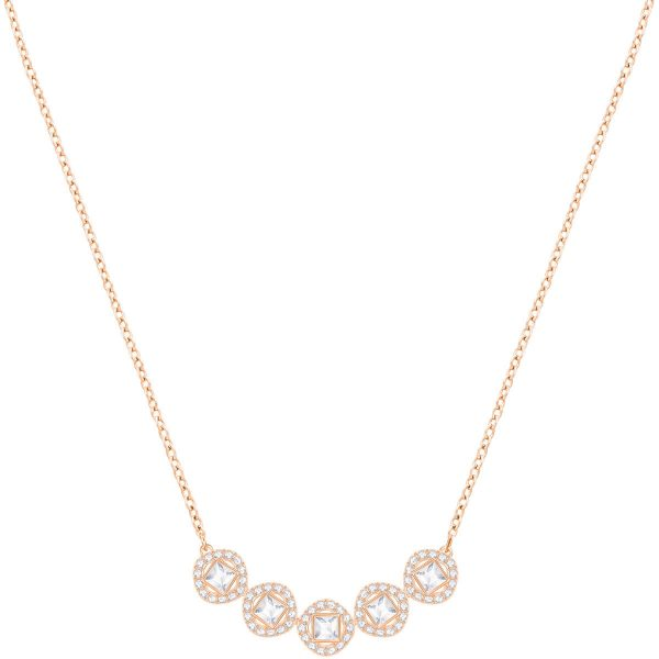 Swarovski Angelic Square Necklace, White, Rose gold plating