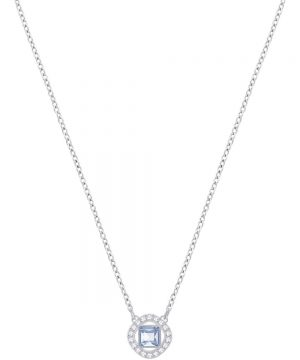 Swarovski Angelic Square Pendant, Blue, Rhodium plating