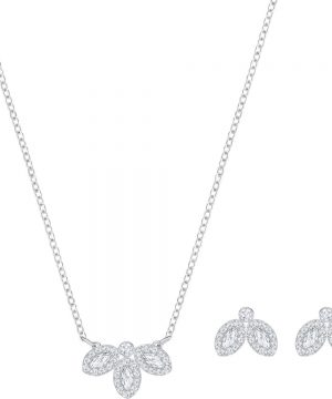 Swarovski Baron Set, White, Rhodium plating