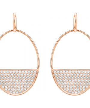 Swarovski Ginger Pierced Earrings, White, Rose gold plating