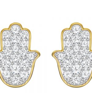 Swarovski Hamsa Hand Pierced Earrings, White, Gold plating