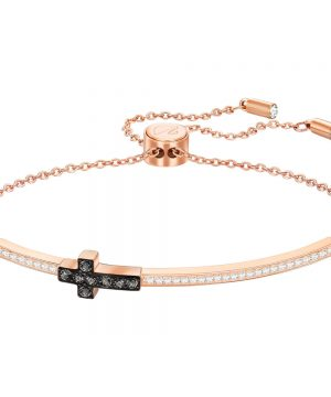 Swarovski Harvey Pavé Bangle, White, Rose gold plating
