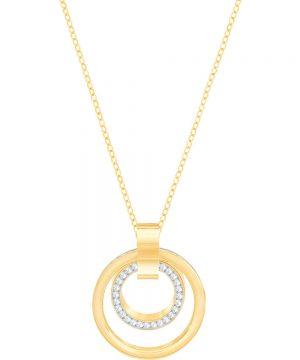 Swarovski Hollow Pendant, White, Gold plating