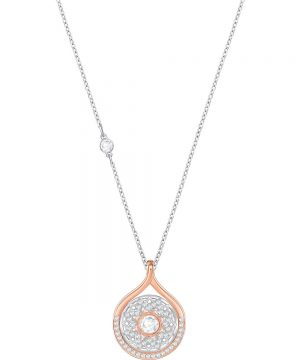 Swarovski Humanist Lotus Flower Pendant, White, Mixed plating