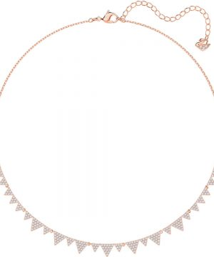 Swarovski Lima Necklace, White, Rose gold plating
