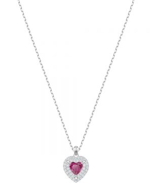 Swarovski One Pendant, Red, Rhodium plating