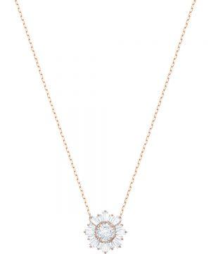 Swarovski Sunshine Pendant, White, Rose gold plating
