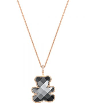Swarovski Teddy Pendant, Black, Rose gold plating