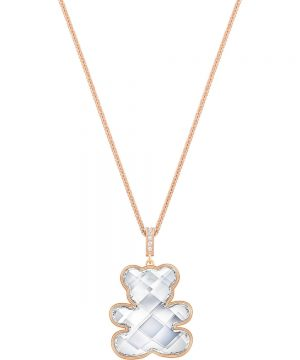 Swarovski Teddy Pendant, White, Rose gold plating