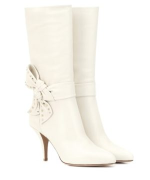 Valentino Garavani Rockstud Side Bow leather boots