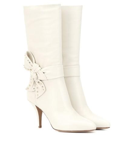 Valentino Garavani Rockstud Side Bow leather boots