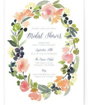 Watercolor Wreath Bridal Shower Invitations
