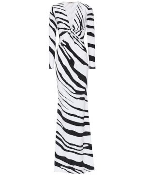 Zebra-printed stretch jersey gown