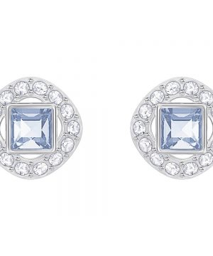 Swarovski Angelic Square Pierced Earrings, Blue, Rhodium plating