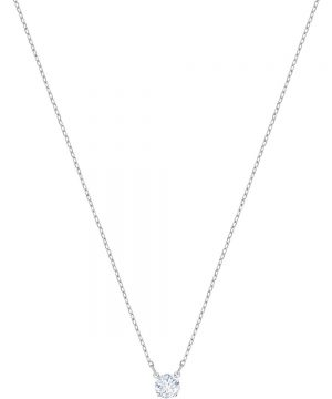 Swarovski Attract Round Necklace, White, Rhodium plating