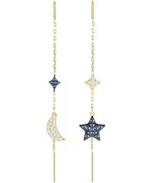 Swarovski Duo Moon Pierced Earrings, Teal, Mixed Plating