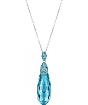 Swarovski Height Pendant, Medium, Aqua, Rhodium plating