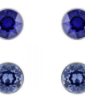 Swarovski Madyson Pierced Earring Set, Blue, Rhodium plating