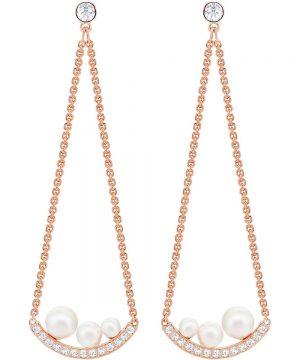 Swarovski Major Pierced Earrings, White, Rose gold plating