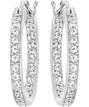 Swarovski Sommerset Hoop Pierced Earrings, White, Rhodium Plating