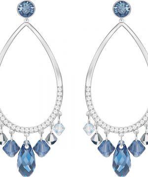 Swarovski Tosha Pierced Earrings, Blue, Rhodium Plating
