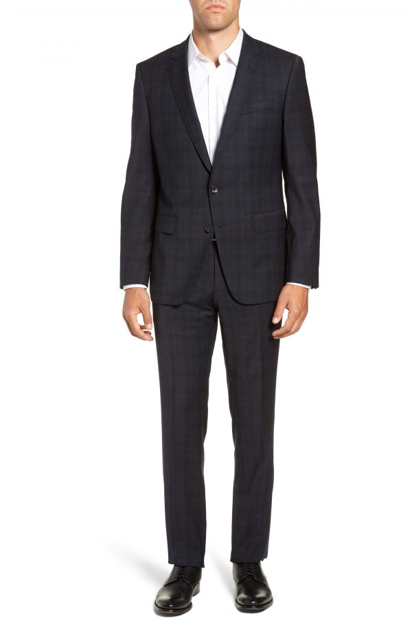 Men's Boss Huge/genius Trim Fit Stretch Plaid Wool Suit