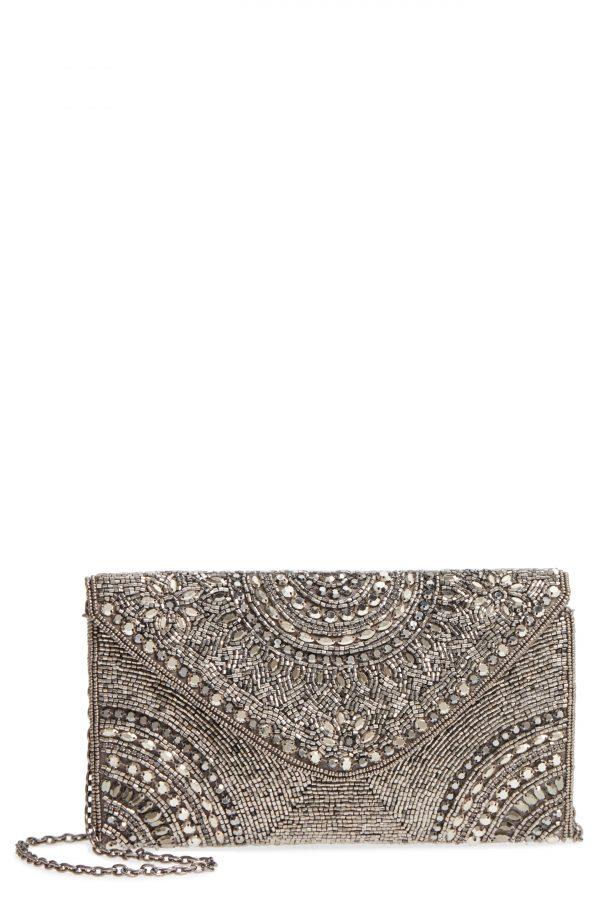 Nordstrom Alhambra Beaded Envelope Clutch - Metallic